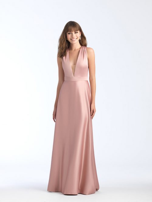 1564 Allure Bridesmaid Dress Features Sheer Illusion Panel