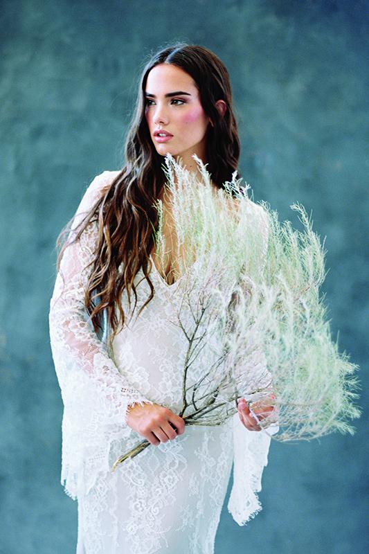 F108 Sage Wilderly Boho Sheath Bridal Gown
